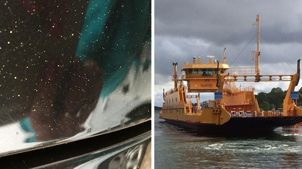 Färgstänk från ommålning av en färja har förstört ett 30-tal bilar