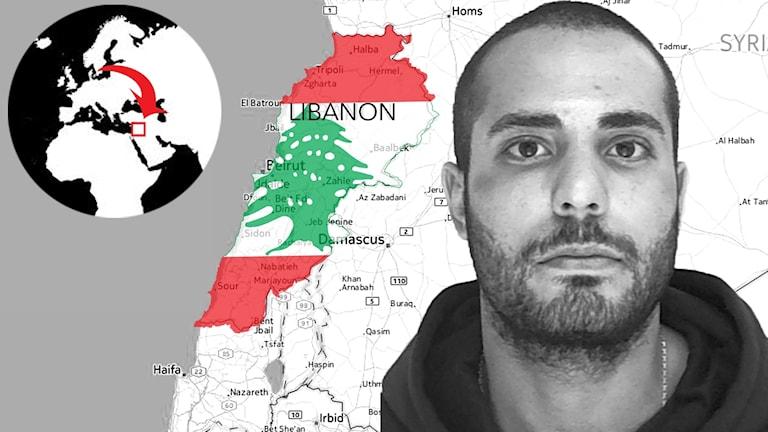 Martin Saliba inklippt i en kartbild Libanon.