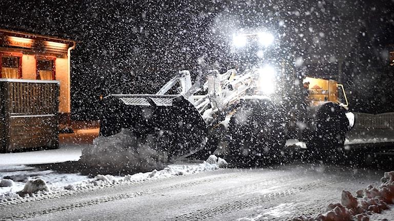 Vägplog i snöoväder. Foto: Nisse Schmidt/TT