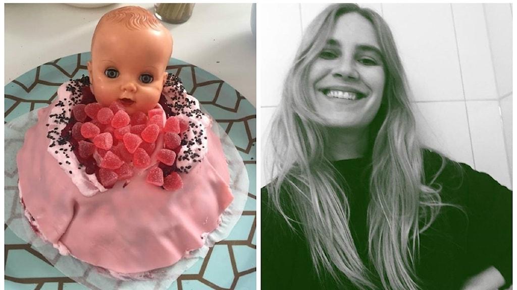 Charlotte Ahlström som har lagat en vaginatårta
