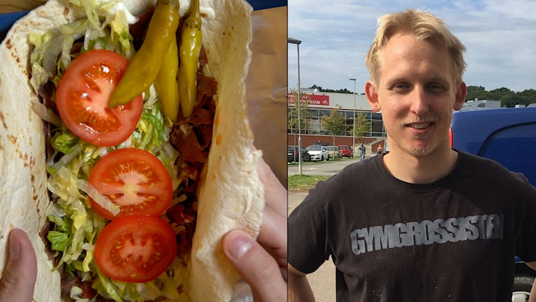 Emil Gustafsson, kebabspecialist till höger, och en bild på en kebab till vänster.