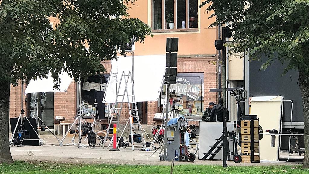 Filmutrustning på Södra hamngatan i Uddevalla.