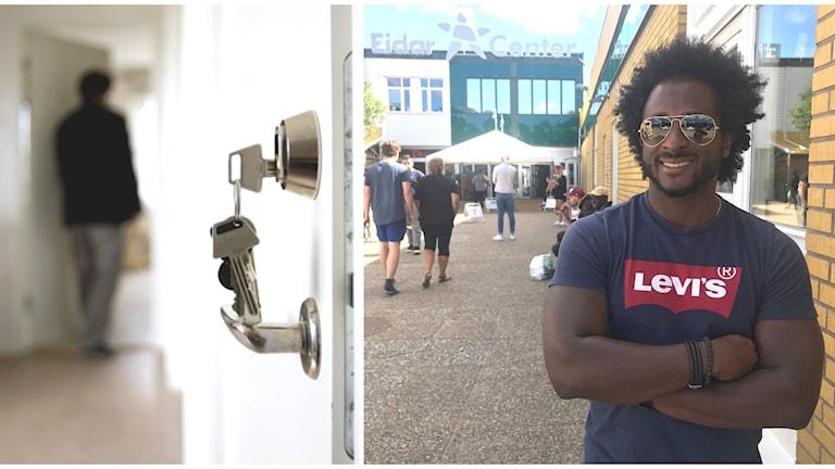 Bildsplitt med nyckel i lås på ena sidan, bild på Alejandro Alfaro Mendez framför Eidars kontorsbyggnad på andra sidan.