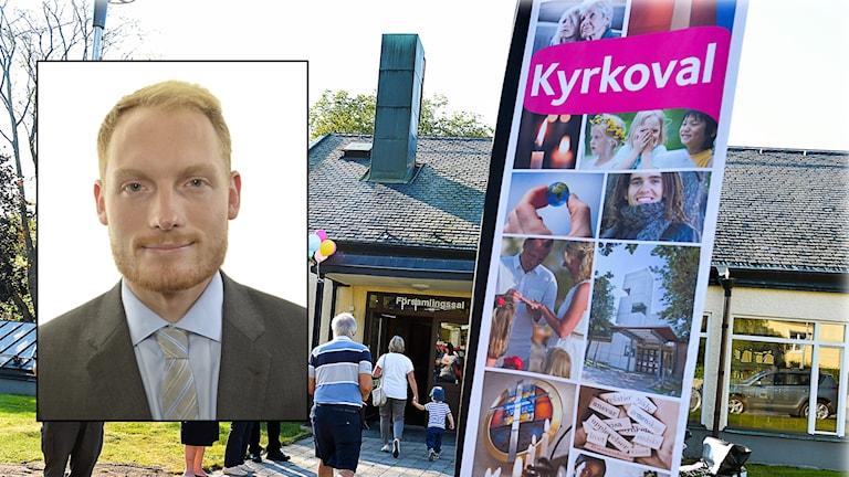 Aron Emilsson (SD) framför människor som röstar i Kyrkovalet.