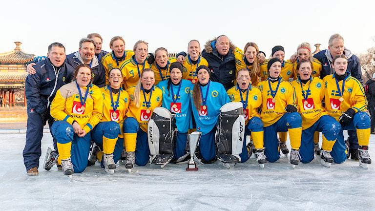Svenska världsmästarna i bandy med tränaren Magnus Nordin bakre raden näst längst till höger.