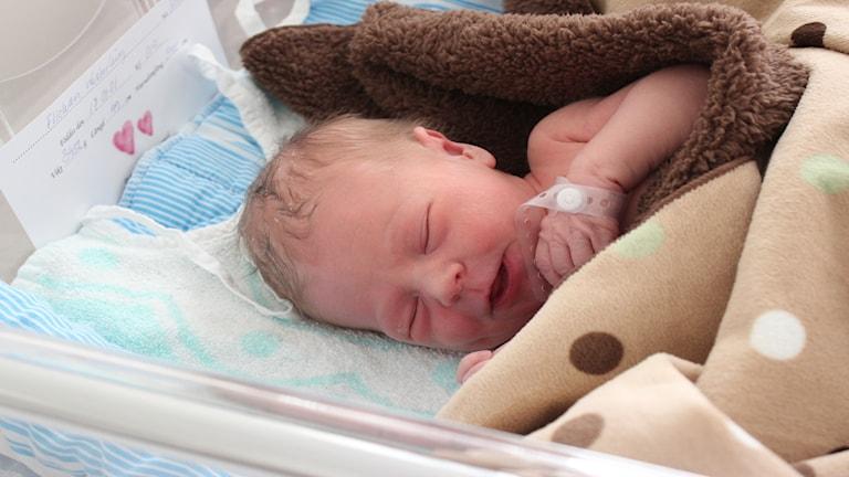 Liten bebis ligger bland filtar på BB.