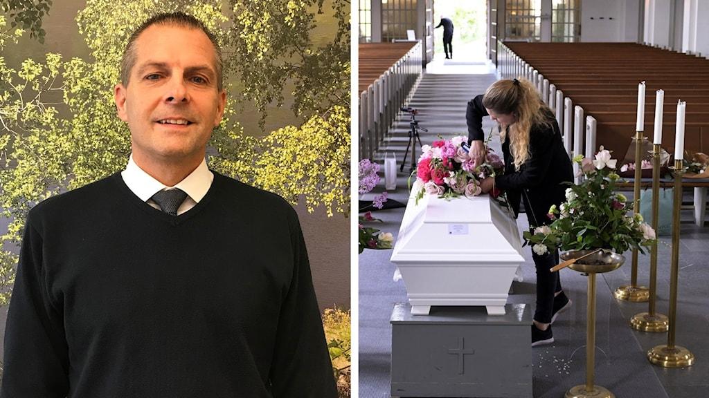 Collage: Bild 1: En välklädd man, begravningsentreprenör, tittar in i kameran. Bild 2: en kvinna gör iordning kista inför begravning.