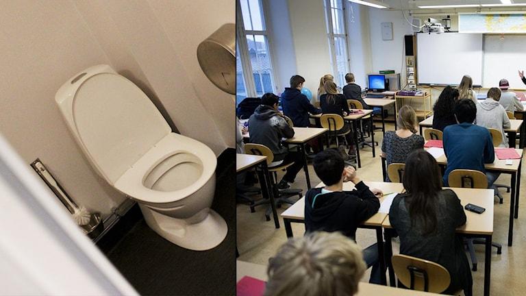 En toalett och ett klassrum på bild. Observera: Montage.