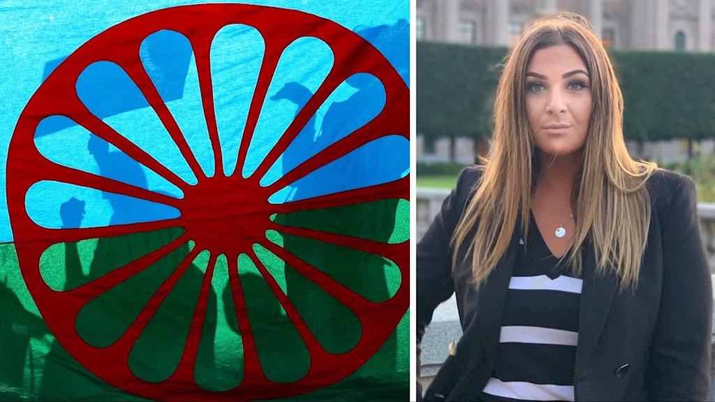 Romska flaggan och Valeria Redjepagic.