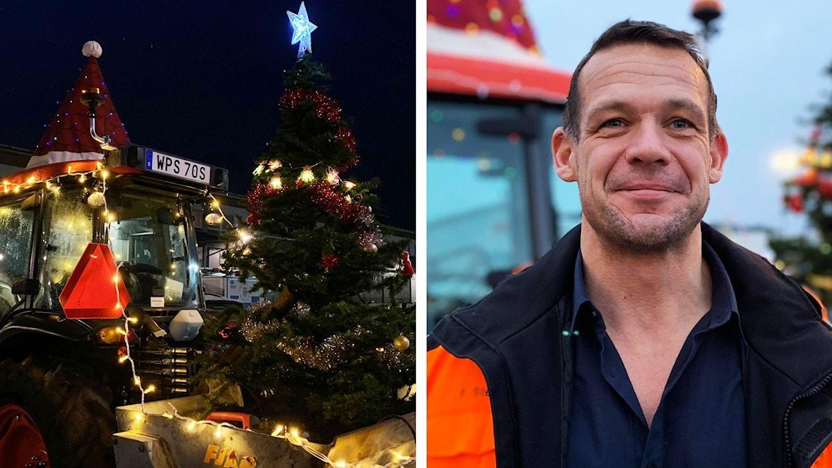 Bildsplitt: Traktor inklädd i juldekorationer och en man som tittar in i kameran. Han är klädd i varseljacka.