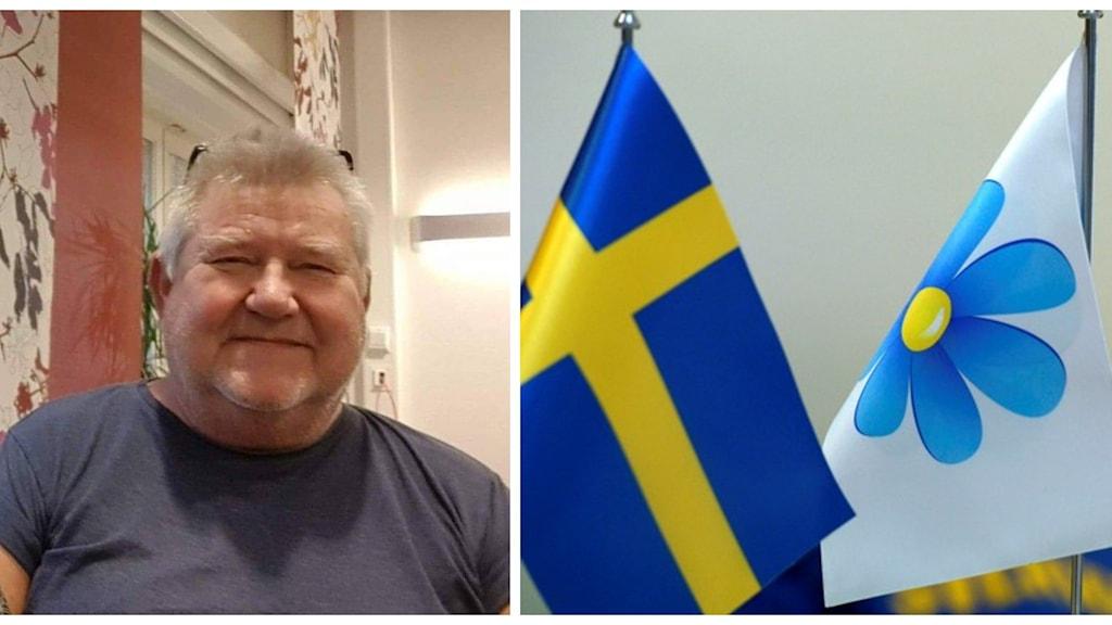 Montage av Christer Ädel och en bild på Sverigedemokraternas logga på en flagga samt en sverigeflagga.