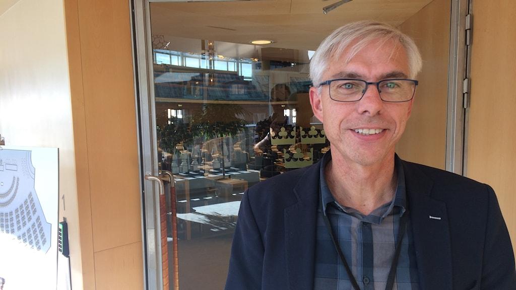 Mats Wiking (S) på sin nya arbetsplats.