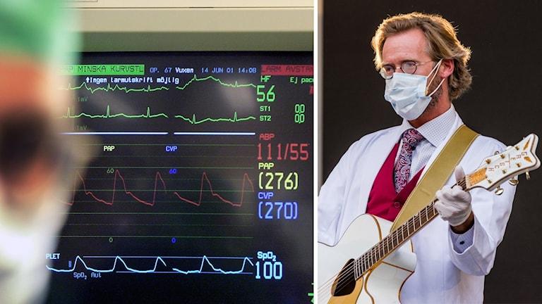 kollage på en skärm med hjärtvågor och en bild på Henrik Widegren med munskydd, handskar och en gitartr