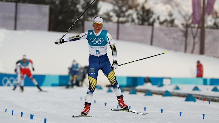 Charlotte Kalla i skiathlon i  vinter-OS.