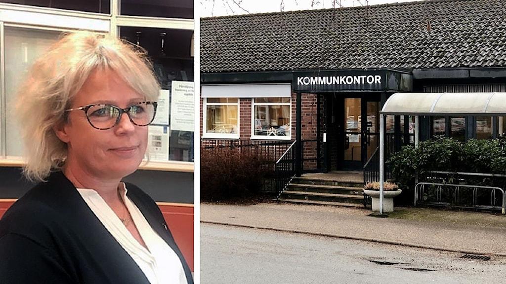 Linda Jansson till vänster och kommunhuset i Färgelanda till höger