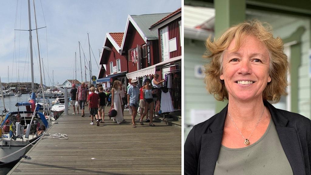 Bildmontage som visar folk på Smögenbryggan sommartid och Åsa Andersson