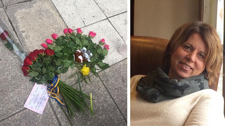 Blommor och en kvinna
