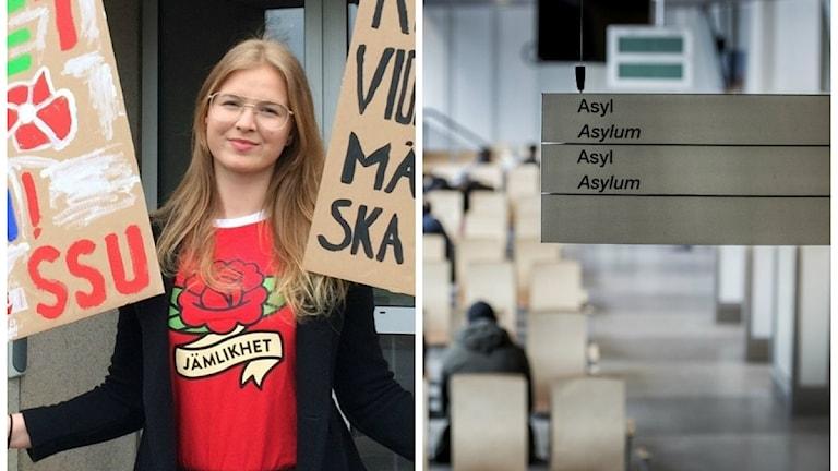 montage av Victoria Lind som står med plakat och en bild på en asylskylt från migrationsverkets lokaler
