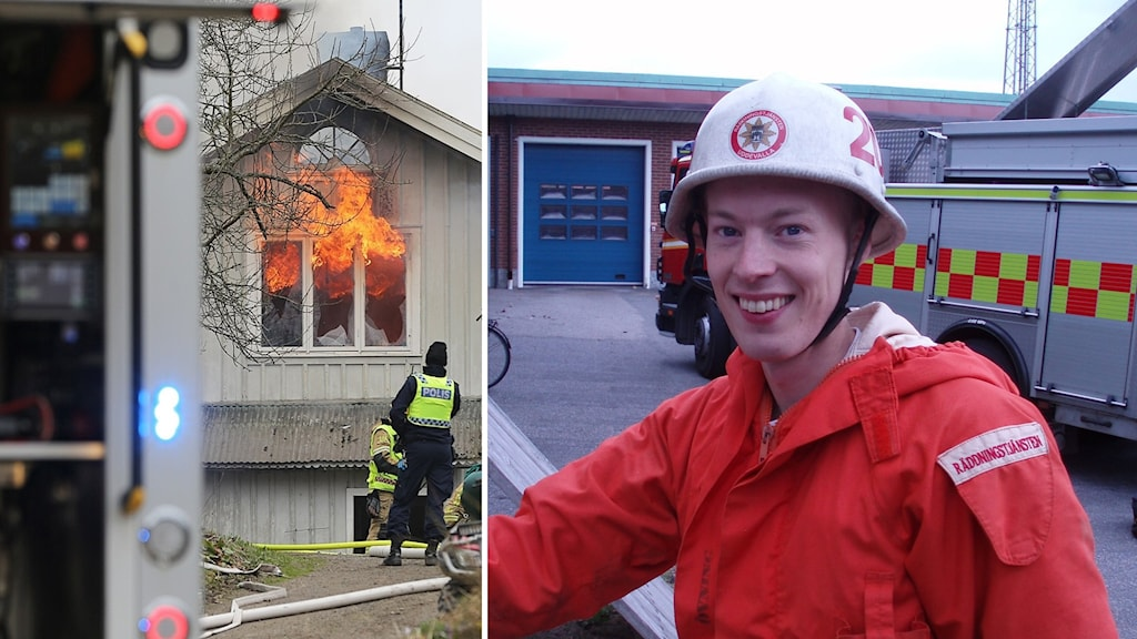 kollage på branden och ett foto på brandmannen Anders