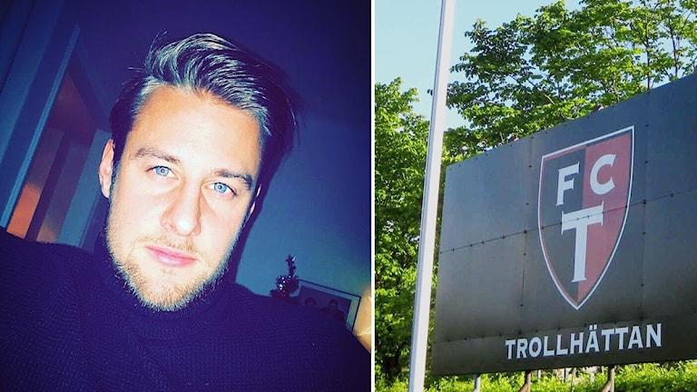 William Lundin och en skylt som visar FC Trollhättans logotyp.