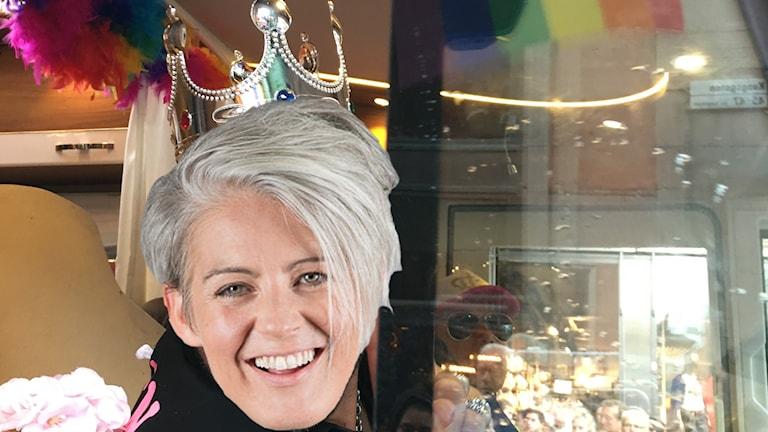 Therese McDonalds ansikte täcker en känd persons dito.