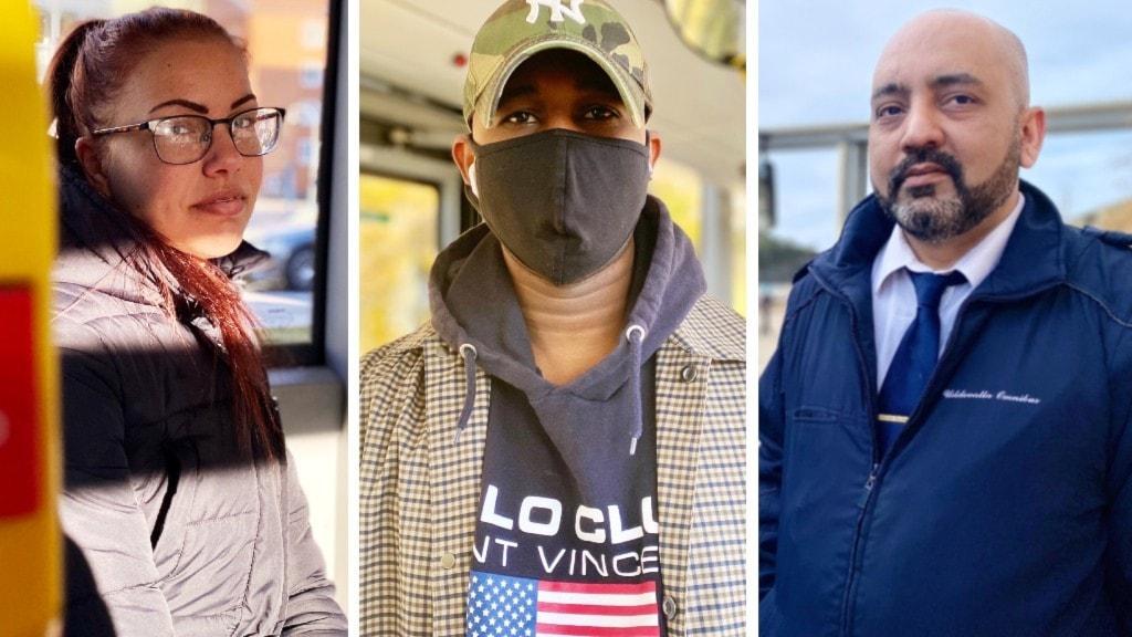 Bilder på två resenärer, och en busschaufför. Chaffisen och ena resenären bär inte munskydd. En av resenärerna bär ett svart tygstycke/munskydd.
