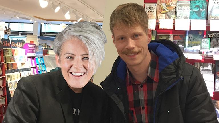 Bild på P4 Västs Jimmie Schewenius och Therese McDonalds ansikte som döljer en annan människas ansikte.