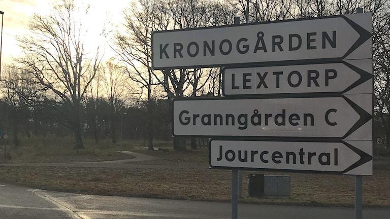 Kronogården Lextorp Sylte vägskylt
