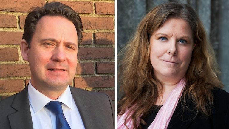 Överåklagare Olof Sahlgren vid Ekobrottsmyndigheten och SR chefsjurist Kerstin Bröms Lumpus