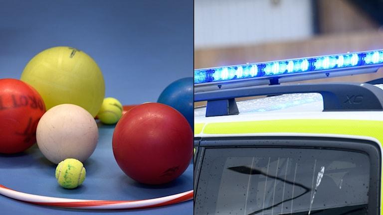En bild på en boll och en polisbil.