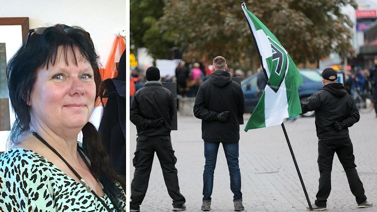 Munkedals kommunalråd Åsa Karlsson (S), bild bakifrån på tre personer som står på ett torg med en flagga från Nordiska motståndsrörelsen. Foto: P4 Väst,Tommy Söderlund/TT