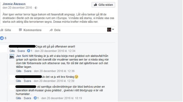 Jan Sohls kommentar på Facebook.