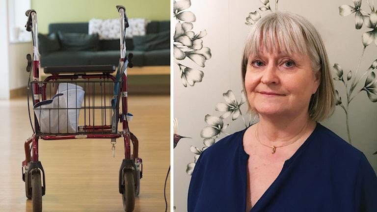 Bildmontage som visar en rullator samt Helena Törneröd, Medicinskt ansvarig sköterska i Trollhättan