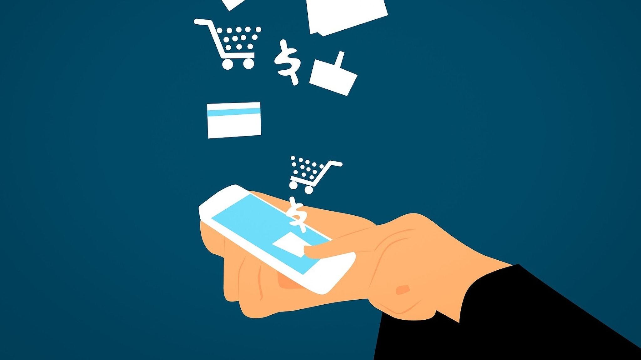 """En tecknad bild på en hand som håller i en mobiltelefon med olika saker som """"ramlar"""" ned i telefonen"""