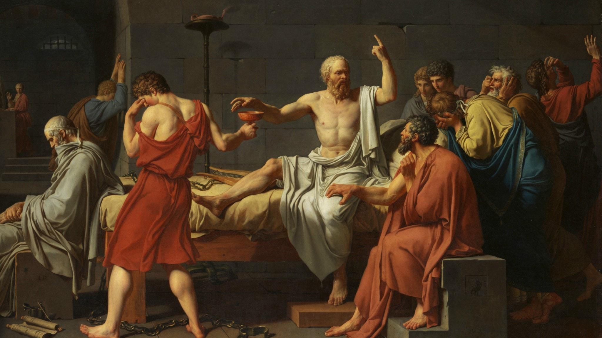 """Sokrates död"", av Jacques-Louis David (1787)"