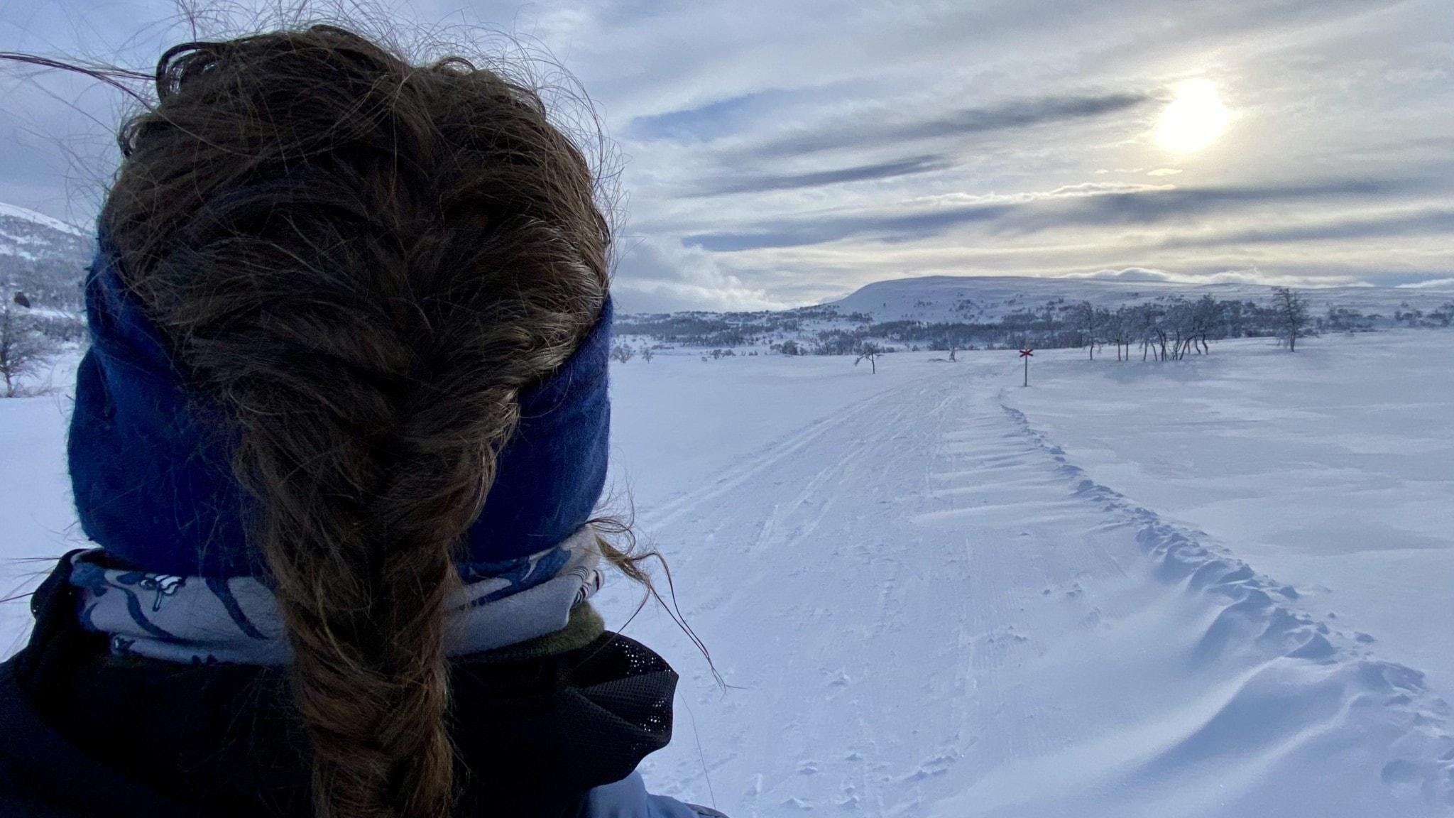 En kvinna bakifrån som blickar ut över snötäckt landskap