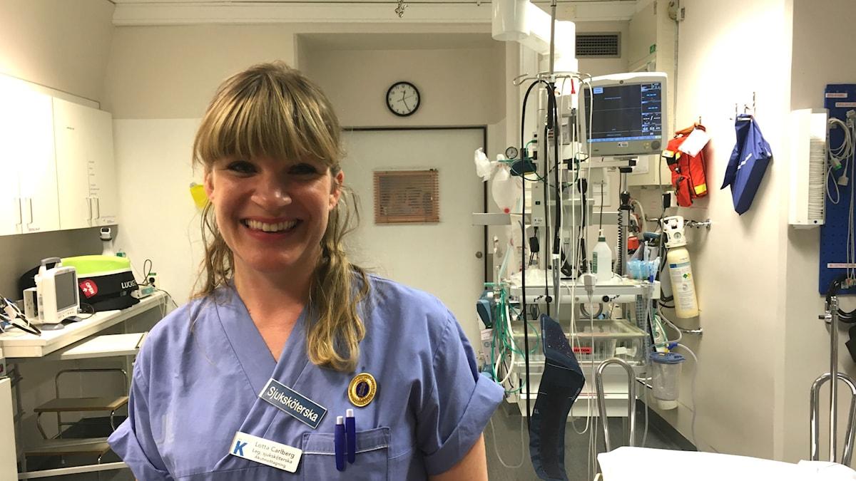 Lotta Carlberg är sjuksköterska på Karolinska sjukhusets akutmottagning i Solna.