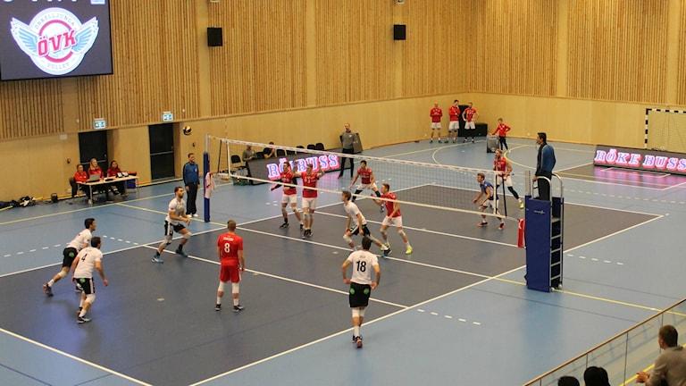 Manliga volleybollspelarere spelar volleyboll.