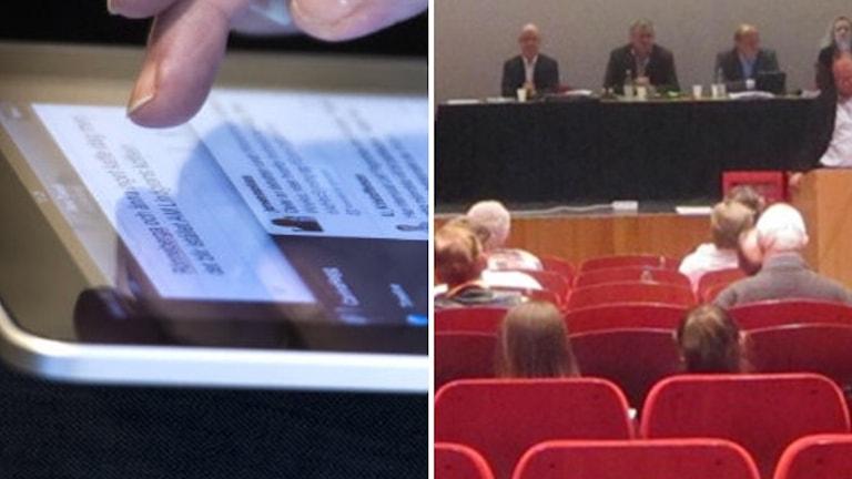 Läsplatta till höger. Till vänster fullmäktigeledamöter i röda stolar.