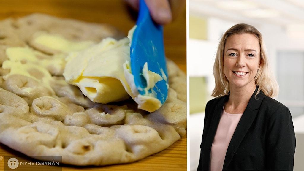 En brödskiva som bres med smör intill en inklippt bild på en blond kvinna