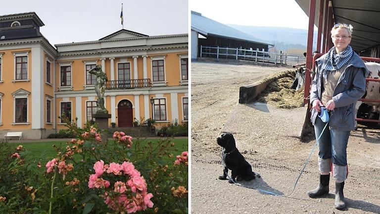 Det gula Skottorps slott till vänster och säljaren Ingmarie Müller-Uri med sin hund till höger.