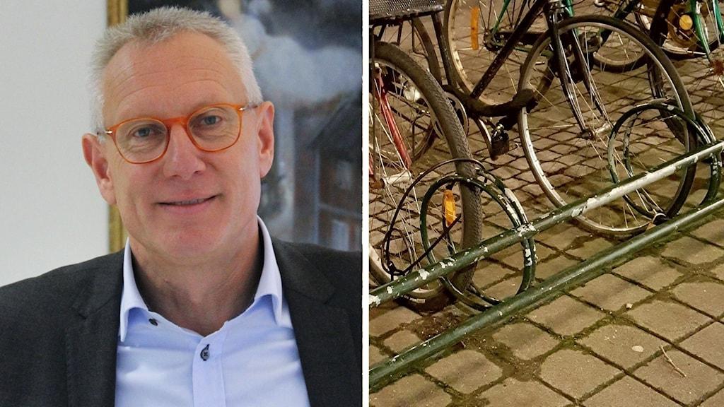 Jonas Netterström i röda glasögon. Splitbild med ett par cyklar i ett cykelställ.