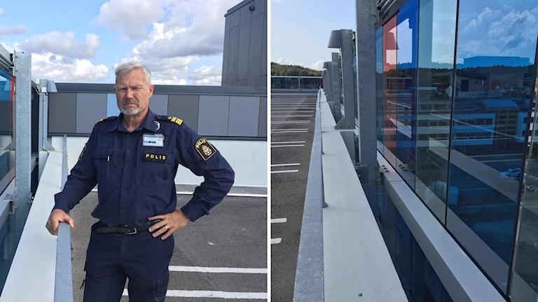 Till vänster en bild på Anders Wiss, till höger taket på parkeringshuset.