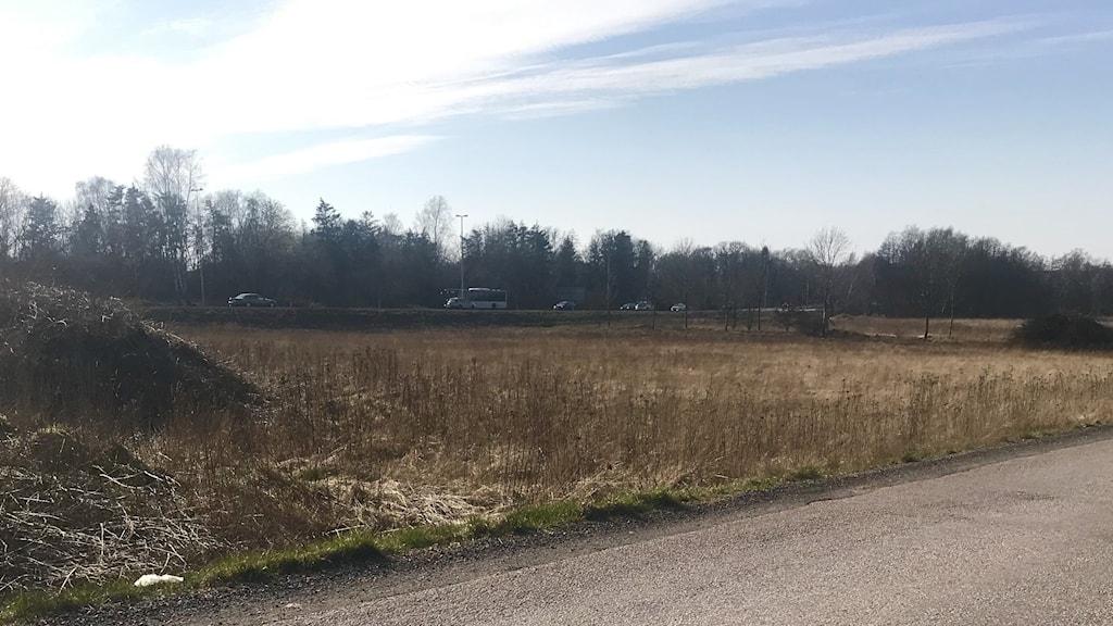 Platsen utmed väg 15 vid Fyllinge som planerats för moskén, som inte blir av.