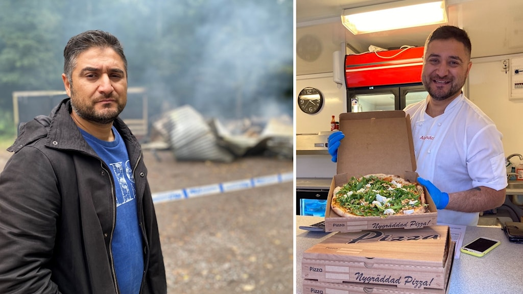 Ett montage bestående av en bilder av Alexander Ivanov. I den ena står han framför polistejp och rökigt bråte, i den andra håller han glatt upp en pizza.