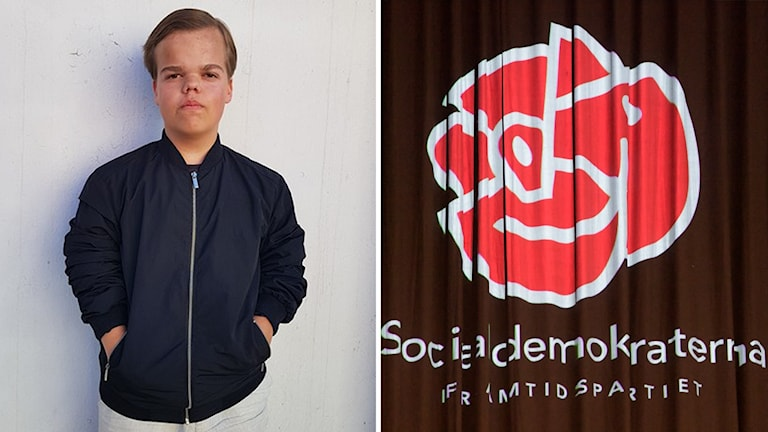 Anton Karlsson, ordförande för SSU Halland delat med en bild på socialdemokraternas logga.
