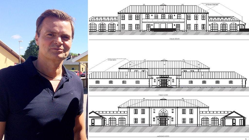 En man i blå tröja står på ena sidan av bilden på andra delen en ritning på ett stort hus.