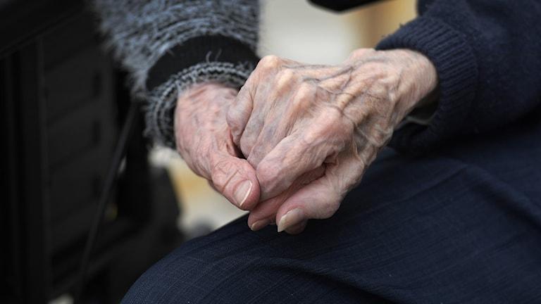 Ett gammalt par håller händer. Foto: Janerik Henriksson/TT.
