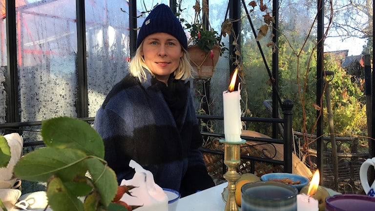 Kristin Lagerqvist i sitt växthus i Varberg.