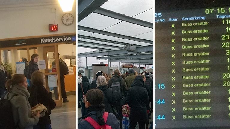 Tågresenärer vittnar om få ersättningsbussar och fullt av resenärer.